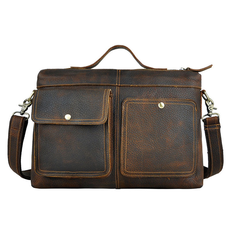 Brand 12' Business Handbag A4 Briefcase Genuine Leather Men's Cross Body Shoulder Bag Male Messenger Bags Cowhide Handle Pack high capacity men handbag cowhide genuine leather bags messenger shoulder bag cross body male business briefcase laptop pack