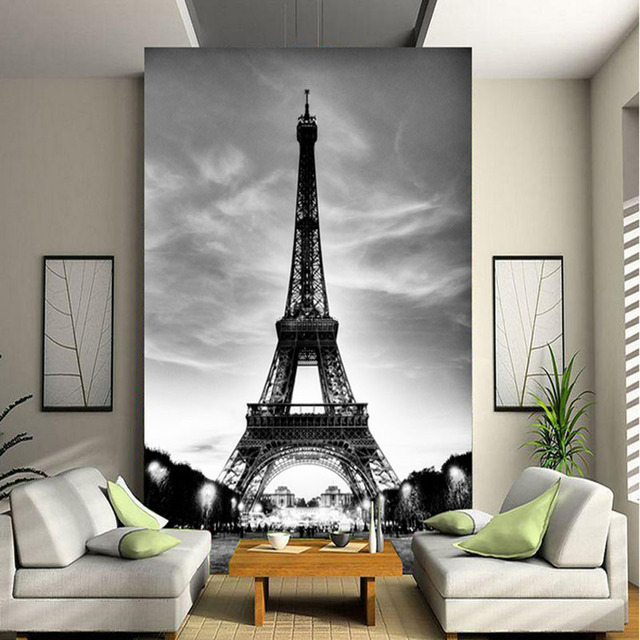 Buy high quality modern 3d european for Eiffel tower wall mural black and white