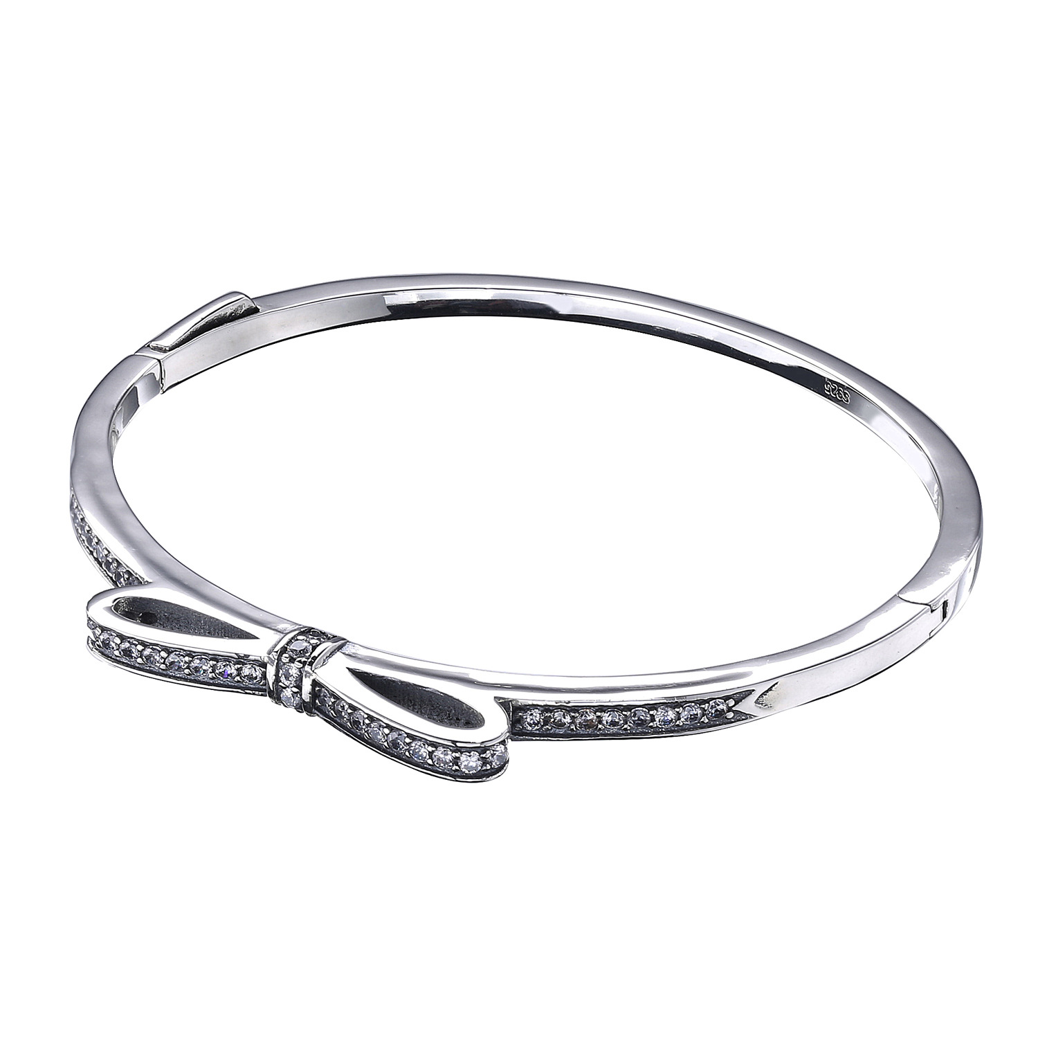 Top Quality Sparkling Bow With Cubic Zirconia Panodra Bangle Bracelet Fit Women Bead Charm 925 Sterling Silver Europe Jewelry top quality bright mint enamel clear cz radiant hearts of pan bangle fit europe bracelet 925 sterling silver bead charm jewelry