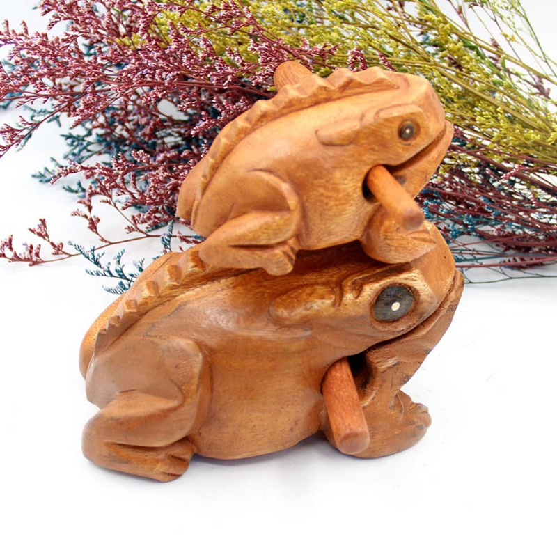 Wooden Animal Money Lucky Frog Hand-carved Kids Musical Instrument Percussion Toy Gift Ornaments