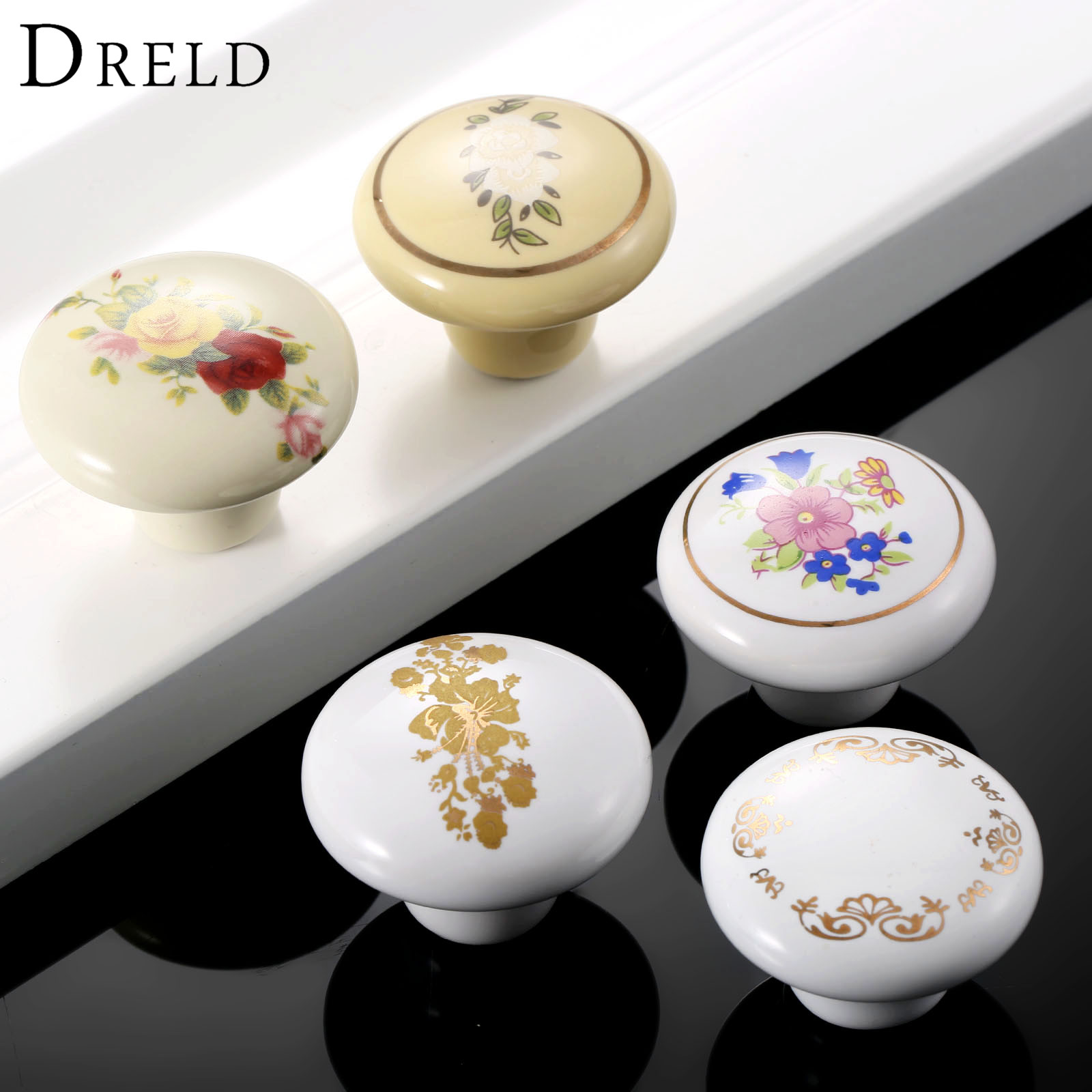 DRELD 1Pc Round Furniture Knobs Ceramic Cupboard Drawer Cabinet Knobs and Handles Door Kitchen Pull Handles Furniture Fittings 2016 ceramic bear furniture knobs kitchen door drawer cupboard wardrobe pull handle cabinet knobs and handles furniture fittings