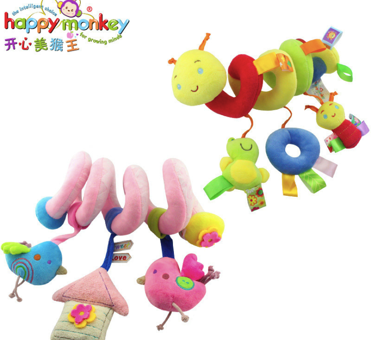 Musical Crib Baby Rattles Mobiles Bed Bell Winding Stroller Pendant Cute Cotton Plush Hanging Soft Toys 2 Colors