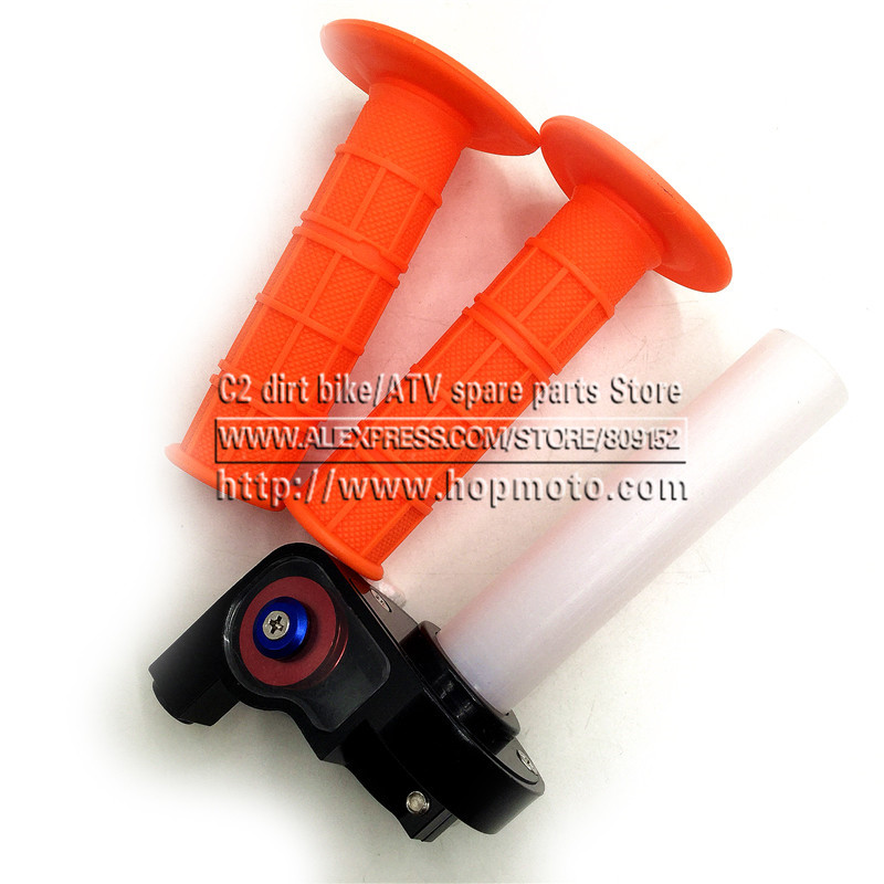 11 colour Handle grips with throttle Settle Twist Clamp Plastic Aluminum For Motorcycle Pit Dirt Bike Motocross ATV Offroad Quad