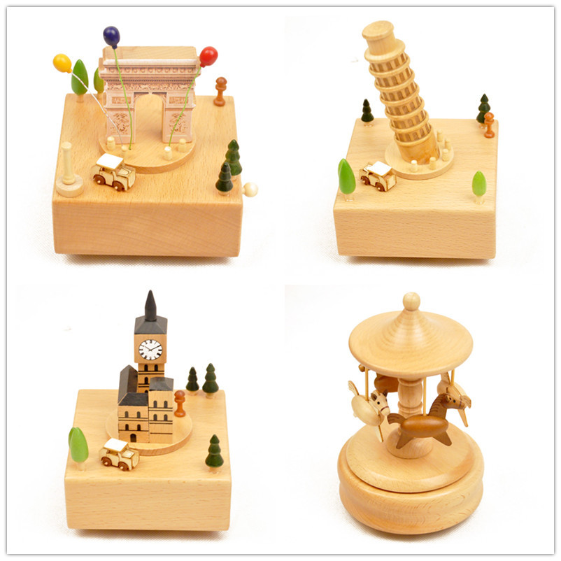 Children Christmas Gift Carousel Musical Boxes Wooden <font><b>Music</b></font> Box Wood Crafts Retro Birthday Gift Home Decoration Accessories