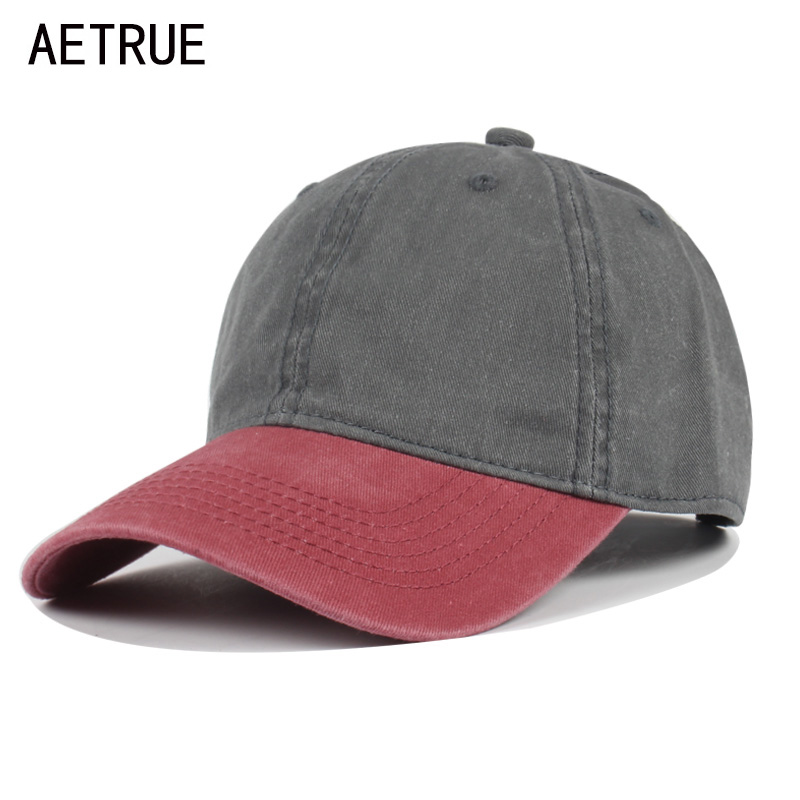 AETRUE Baseball Cap Women Snapback Caps Men Casquette Bone Hats For Men Solid Fashion Vintage Plain Flat Washed Blank Cotton Hat fashion rivets cotton polyester fiber men s flat top hat cap army green