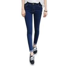 2016 Moda Mujeres Niñas de Cintura Alta Pantalones Vaqueros de Mezclilla Pantalones Flacos Delgados Lápiz Pantalones XS-XXXL Caliente Y05 L11