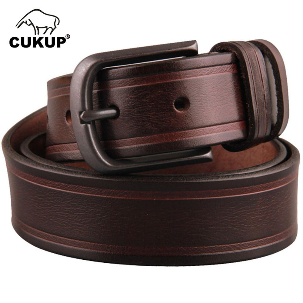CUKUP Top Quality Men's 100% Pure Cow Striped Leather Belts Male Zinc Alloy Pin Buckle Metal Packed in a Box Belt for Men NCK373
