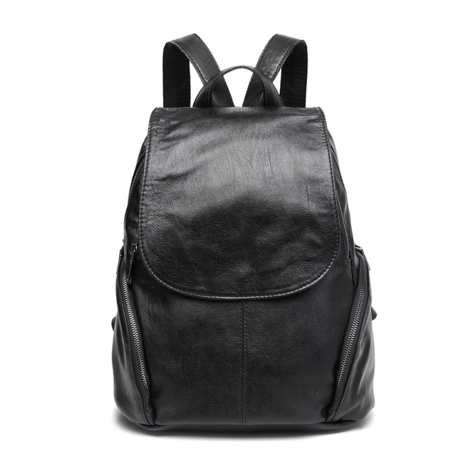 fd1df22cc42b Sheepskin classic black color leather backpack small big size parent  children backpacks unisex student school bag travel bags