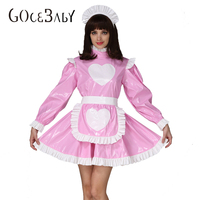 Forced Sissy Girl Maid Heart Shaped Pattern Lockable Pink Dress Costume Crossdress Cosplay Costume