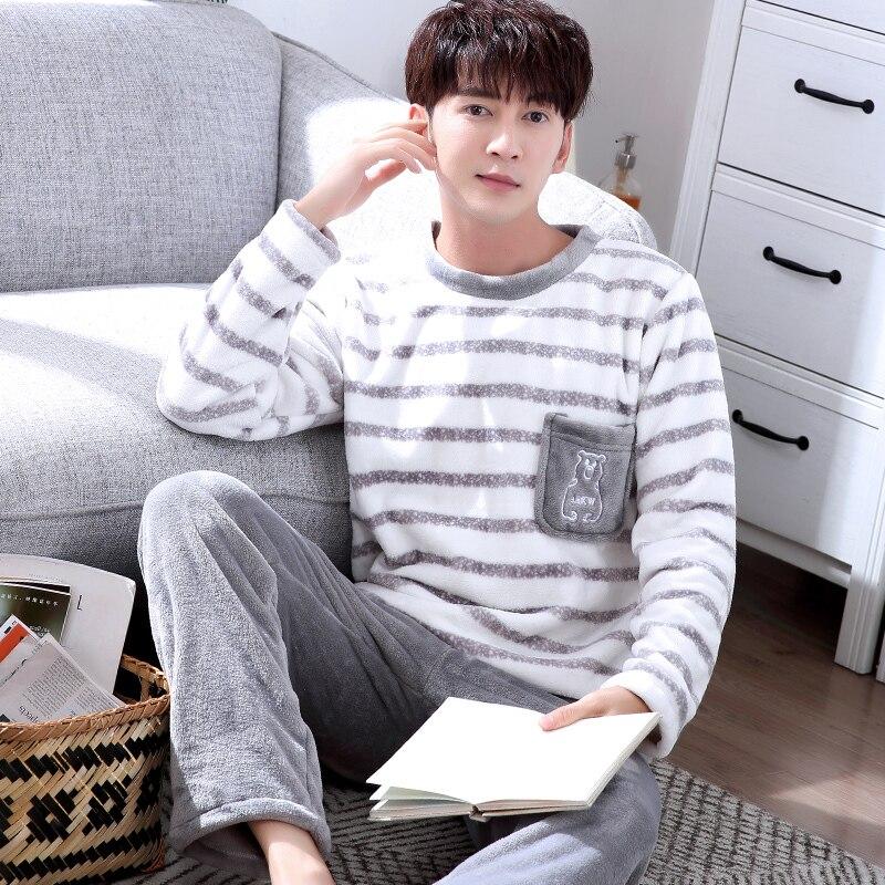 KM Mens Winter Pullover Pajamas Set Thicken Coral Velvet Homewear