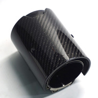 70MM Car Real Carbon Fiber Exhaust tip Glossy All Black for BMW M2 M3 M4 M135i M235i M140i M240i Mufflers
