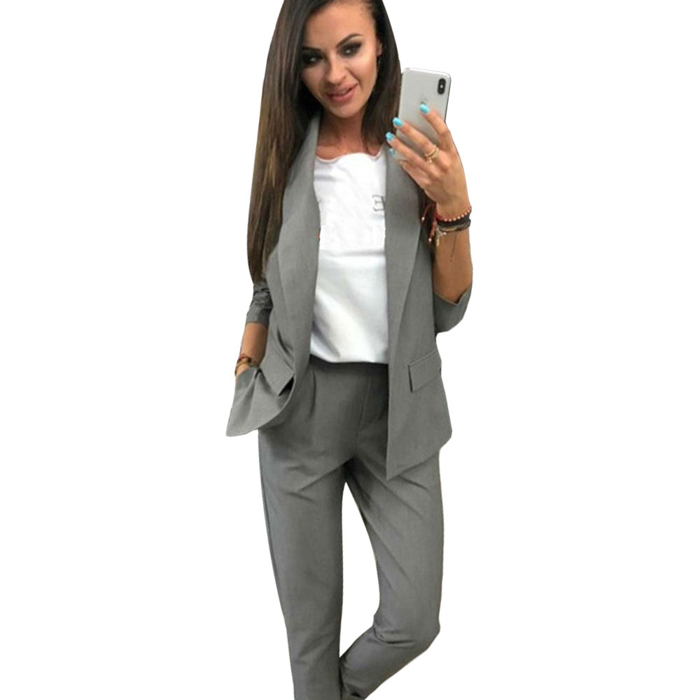 MVGIRLRU Work Pant Suits OL 2 Piece Sets Solid Color Blazer Jacket Elastic Band Trousers Suit