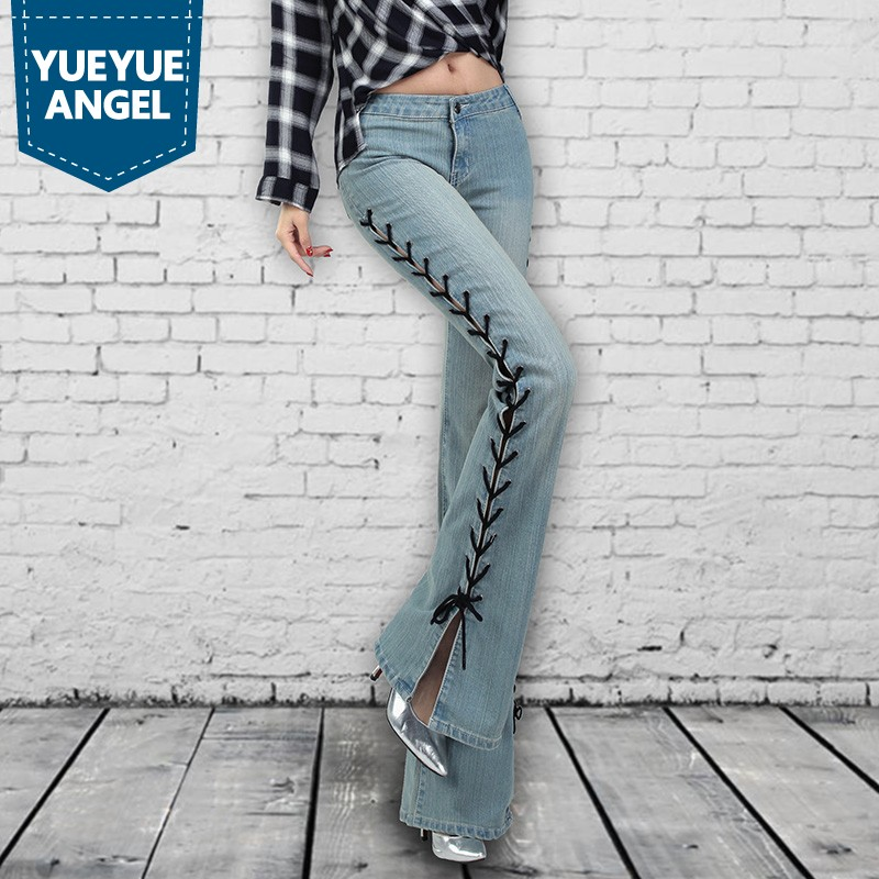 Blue Zip 2019 Rue Vintage Cut Denim De Automne Streetwear Stretch Jeans Blue Split Black Boot La dark Fit Pantalon Femelle Slim light Femme Flare Mode nB4wCqBZf