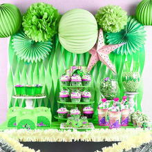 20pcs Green Paper Pompoms Happy Birthday Decoration Pom Poms Balls Flowers Home Decor For Wedding Party Supplies