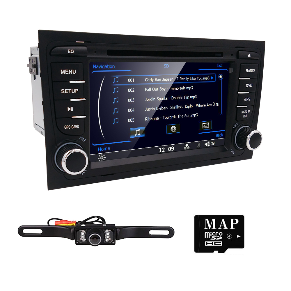Free Camera GPS Map 2 Double Din Car DVD for Audi A4 2002 2008 Player with