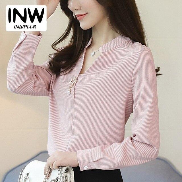 248661696c 2018 Mulheres Camisa Blusa Chiffon Primavera Escritório Desgaste Do  Trabalho Camisas Mujer Femme Com Decote Em