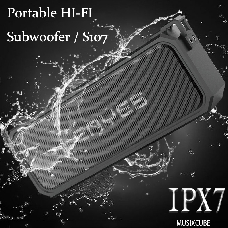 Lenyes S107 Wireless Bluetooth Speaker IPX7 Waterproof Speaker Subwoofer Stereo Speaker Music Player Support TF Card