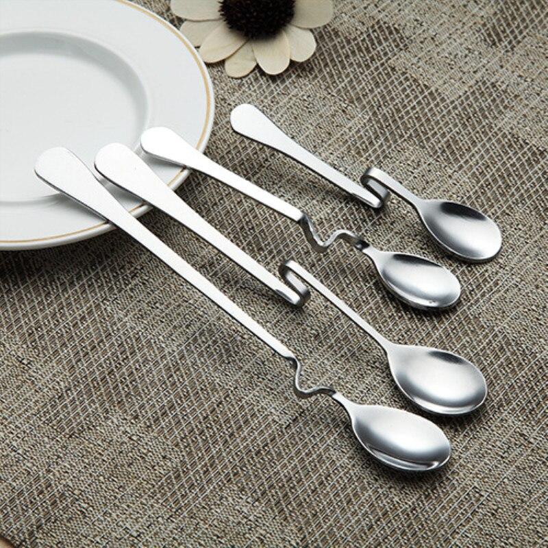 1pc Stainless Steel Coffee Spoon Creative Hang On Teaspoon Dessert Spoon Stirring Grains Milk Tea Scoop Wedding Gifts Tableware