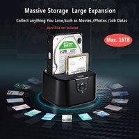 듀얼 베이 SSD/HDD 도킹 스테이션 하드 디스크 도킹 Sata III to USB3.0 도킹 스테이션 복제 기능 2.5/3.5 hdd 노트북