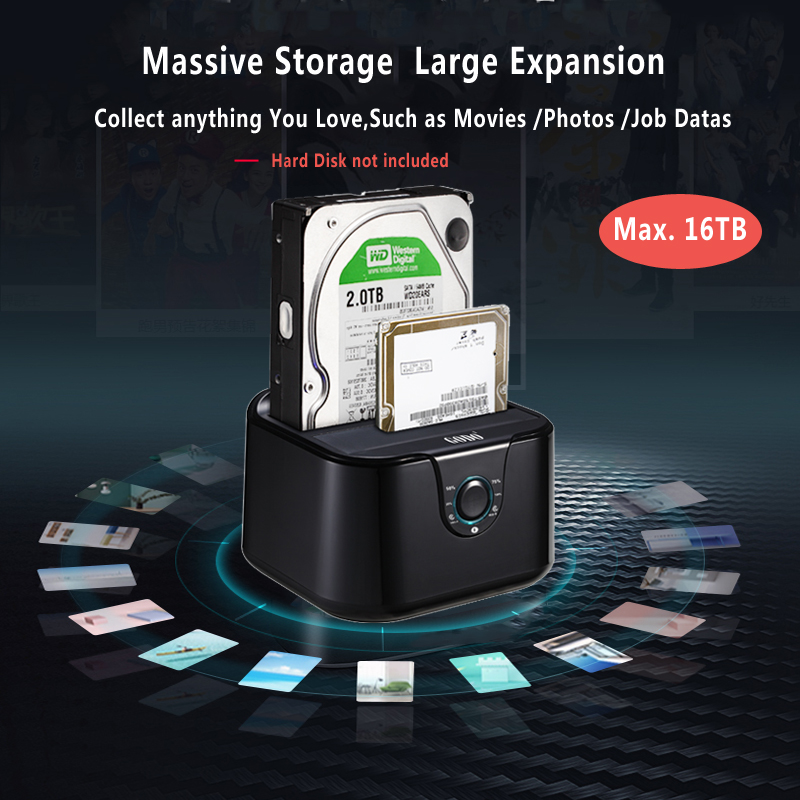 Dual bay SSD/HDD docking station hard disk docking Sata III to USB3.0 docking station clone function for 2.5/3.5 hdd Laptop
