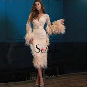 Image 3 - SoAyle Luxurious Red Evening Dresses 2018 V neck  Long Sleeves Vestidos de festa longo Feathers Beading Fashion Prom Dresses
