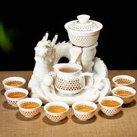 11PCS/Lot Anti hot Openwork Ceramic Porcelain Automatic Tea Set Drinkware Office Cha Hai Tea Cup Fair Cup Gaiwan Dragon Base Kit