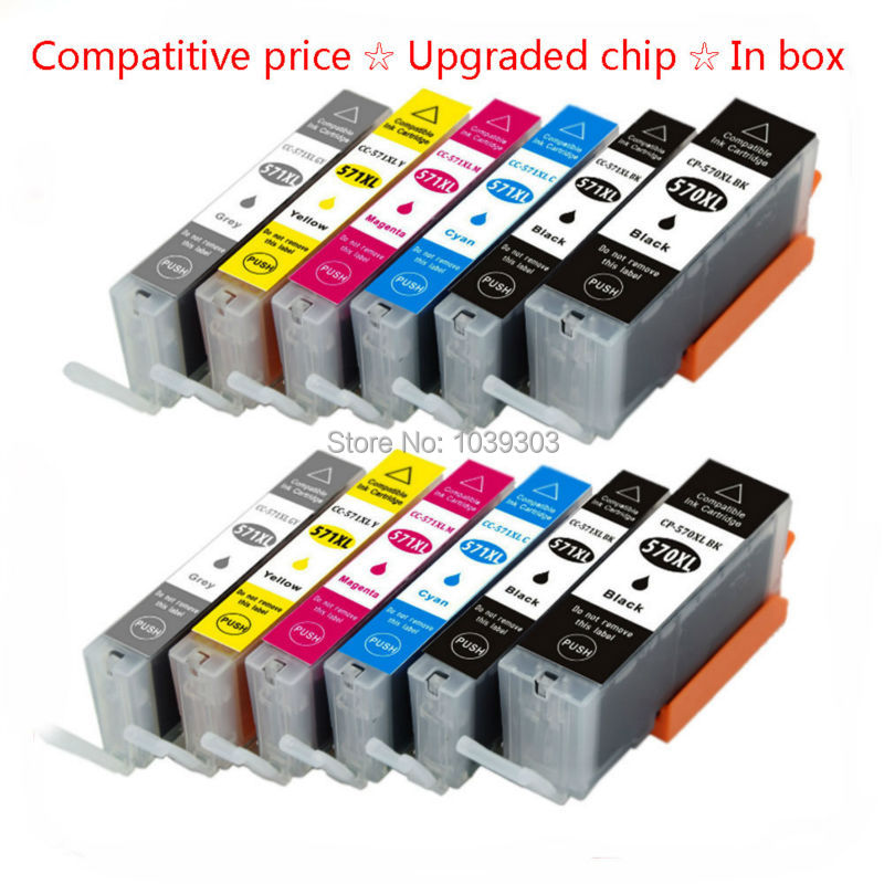 12Pk Compatible Ink Cartridge PGI 570 CLI 571 Inks For Canon PIXMA MG7750 MG7751 MG7752 MG7753 Printer Ink with Chips(2Black, 8 pk perseus ink cartridge for canon cli 42 cli42 full 8 color compatible canon pixma pro 100 printer grade a