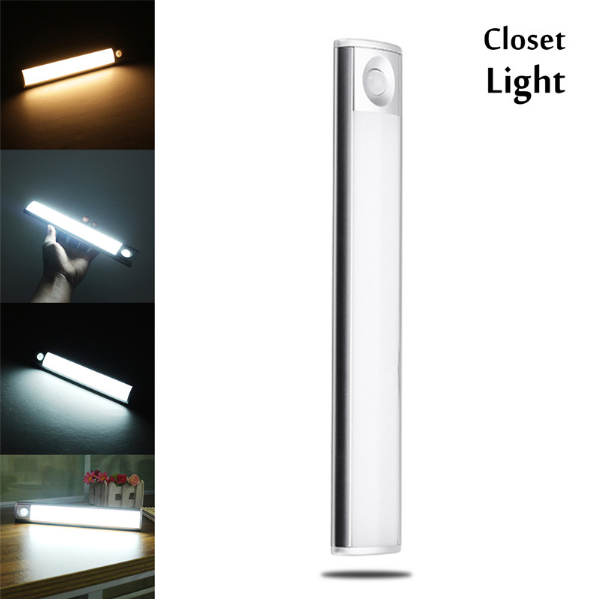 33 LEDs Rechargeable Motion Sensor Night Light LED Closet Light for Kitchen Cabinet Stairs Wardrobe Bookcase Lights