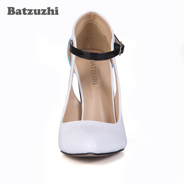 Batzuzhi Super Fashion Women High Heel Pumps Sexy 12cm White Blue Leather Women Designer Shoes Runway Heels for Wedding/Party