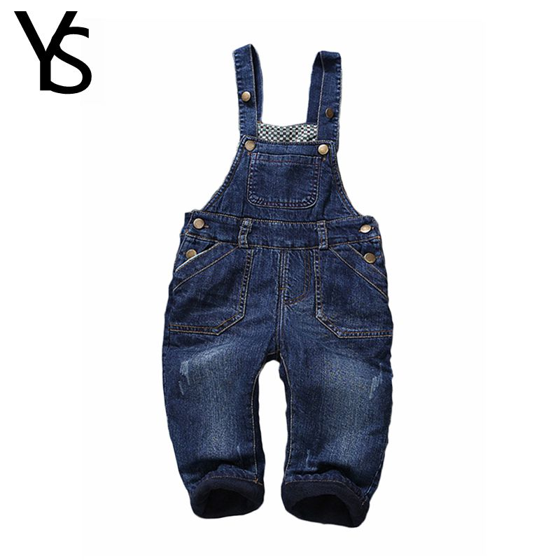 Baby Winter Warm Velvet Overalls 6m- 4Years Jeans Overalls Infant Long Pants Baby Toddler Girls Boys jumpsuit Rompers 1850