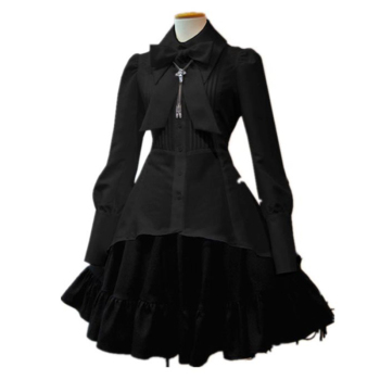 Summer Elegant Party Black Evening Gothic Women Lolita Dresses Big Size Bow Collar Pleated Lace Up Goth Vintage White Chic Dress цена 2017