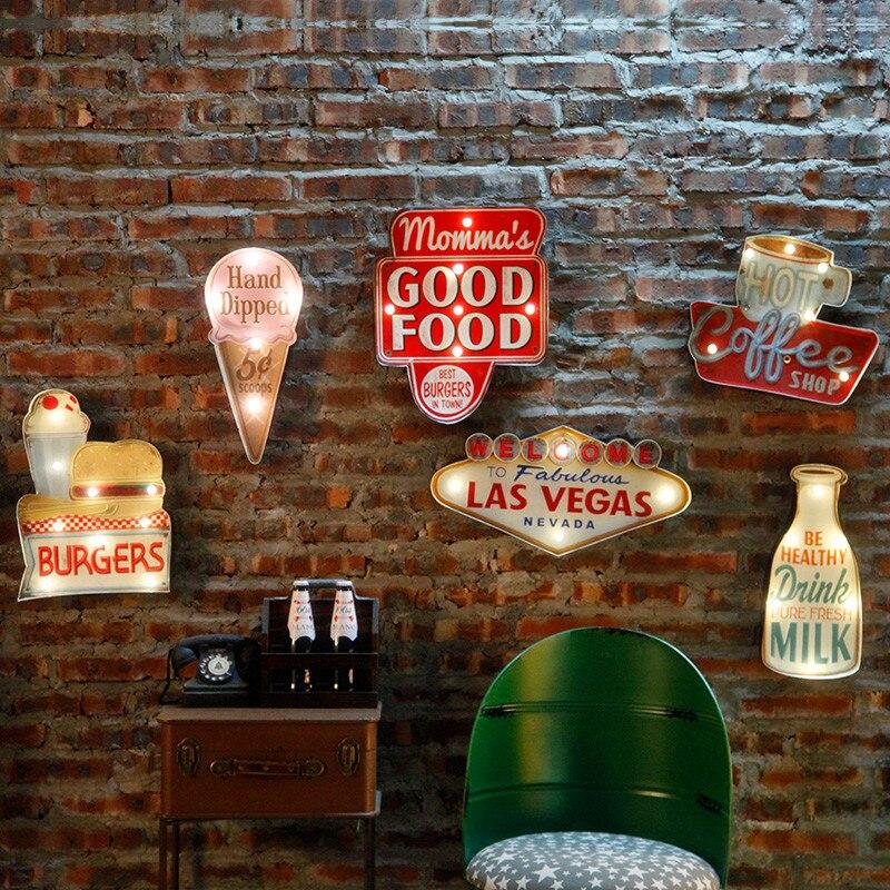 Vintage Las Vegas lumière LED enseignes au néon pour Bar Pub maison Restaurant café éclairage signe tenture murale décoration panneaux de LED N052
