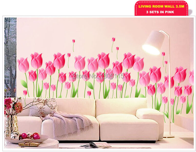 Tulips self adhesive and removable wallpaper wall stickerpaper printed colorful waterproof self adhesive transparent stickers in wall stickers from home