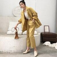 Women Suits Solid Loose Business Fashion Ladies Pants Suit 2 Piece Suit Woman Jacket Trousers 2019 Office Autumn Plus Size Set
