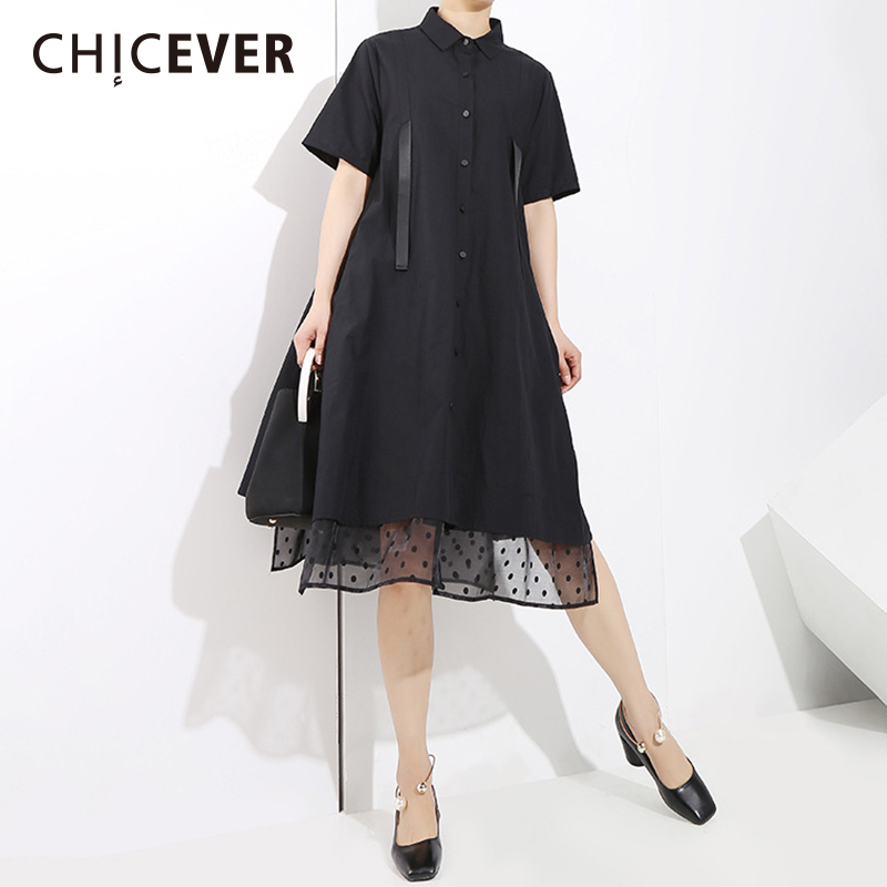 CHICEVER Black Patchwork Mesh Women Dress Female Shirt Sleeve 2018 Spring Loose Womens Dresses Of The Big Size Clothes Fashion