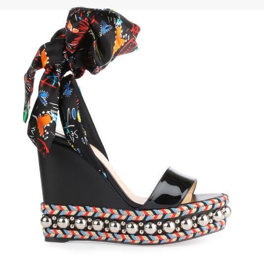 Sandalia de cuña de Punta abierta a la moda de Moraima Snc para mujer zapatos de plataforma de encaje con estampado de flores Sandalia de gladiador trenzada de cuerda