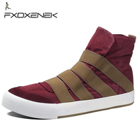 FXDXENEK Mannen Sneakers Classic Mannen Canvas Sport Schoen Lace UP Trainers Mannen Skateboarden schoenen Platte Hoge Top Mannen Wandelschoenen