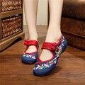 2016 Primavera Outono Mulher Sapatos Estilo Chinês Flats Casuais Para As Mulheres Colorido Flor Bordada Dancing Shoes zapatos mujer