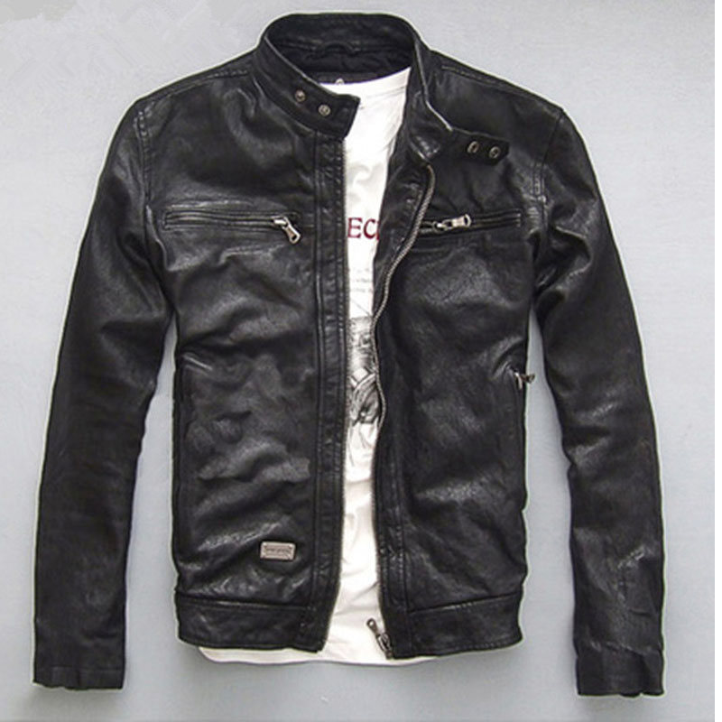 Jacket Genuine-Leather Motocycle YOLANFAIRY Slim Autumn Short Spring for Men Outerwear