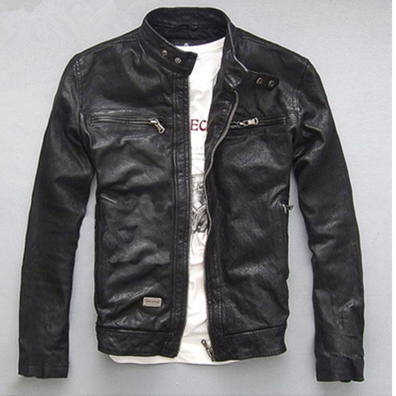 YOLANFAIRY Primavera Outono Jaqueta de Couro Genuíno dos homens Curto MF030 Motocycle Jackets Para Homens Outerwear jaqueta de couro Fino