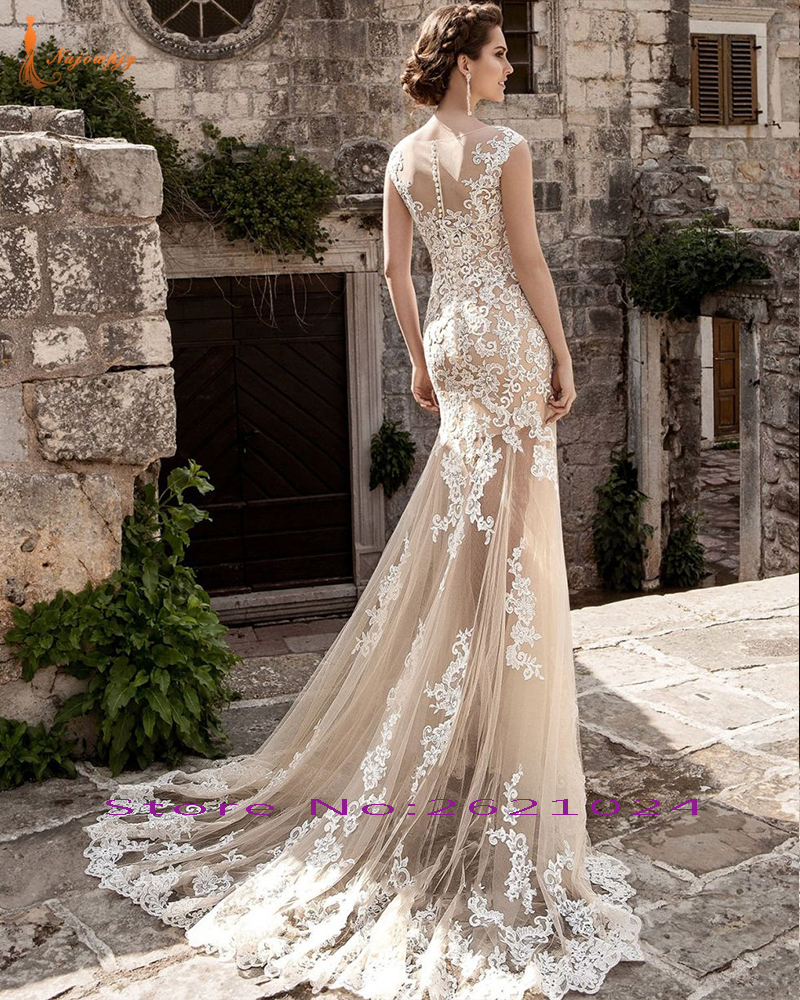 NAJOWPJG 2018 Casamento Ivory Appliques Licht Champagne Tulle ...