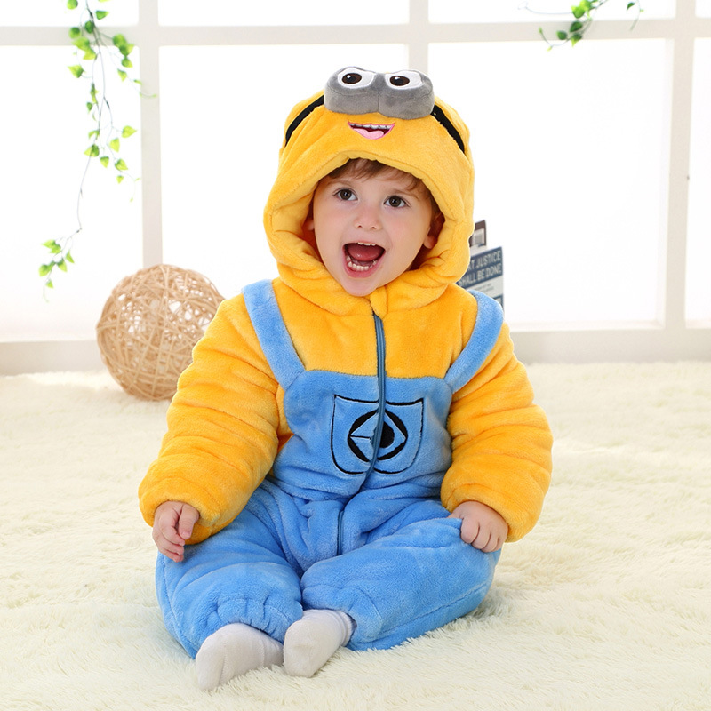 Newcosplay Cartoon Minions Baby Winter Pajamas Unisex Christmas Cosplay Costume Sleepwear Cute New Year Gift Cosplay Clothing