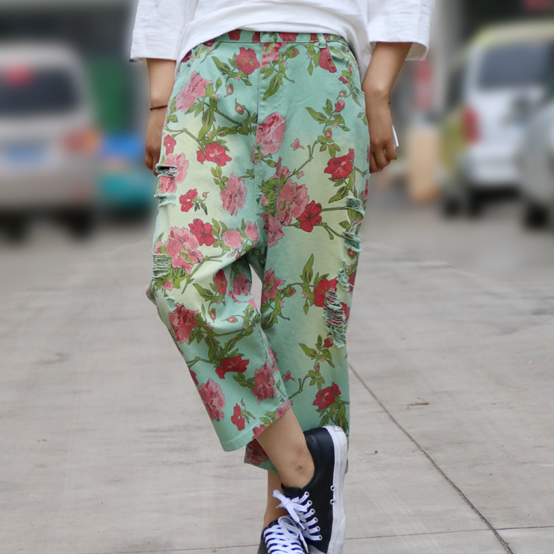 100% Cotton Fashion Flower Print Harem Pant Women Ethnic Floral Wide Leg Pants Ripped Baggy Loose Plus Size Capris