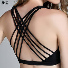 9e8e964f2a JNC Cute Criss Cross Black Yoga Bras Padded Push up Women Gym Activewear  Top Light Support Wirefree Cool-look Fitness Sports Bra