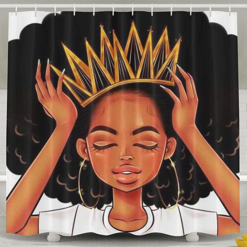 African American Women Girl with Crown Shower Curtain Waterproof Polyester Fabric Afro Girls African Queen Princess Bath Curtain