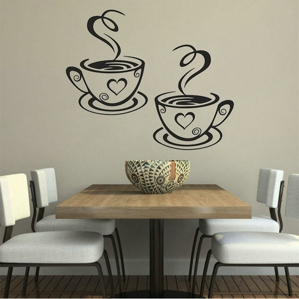 Romantic Design DIY Coffee Cup Heart Beauty Removable Home