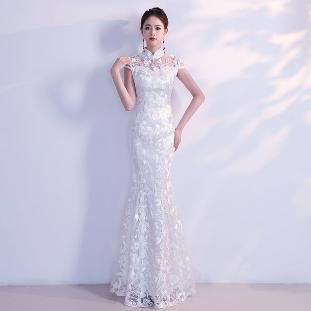 96329f023 White Traditional Chinese Wedding Dress Sexy Qipao Mermaid Cheongsam  Evening Gown Lace Modern Oriental Dresses Elegant Qi Pao