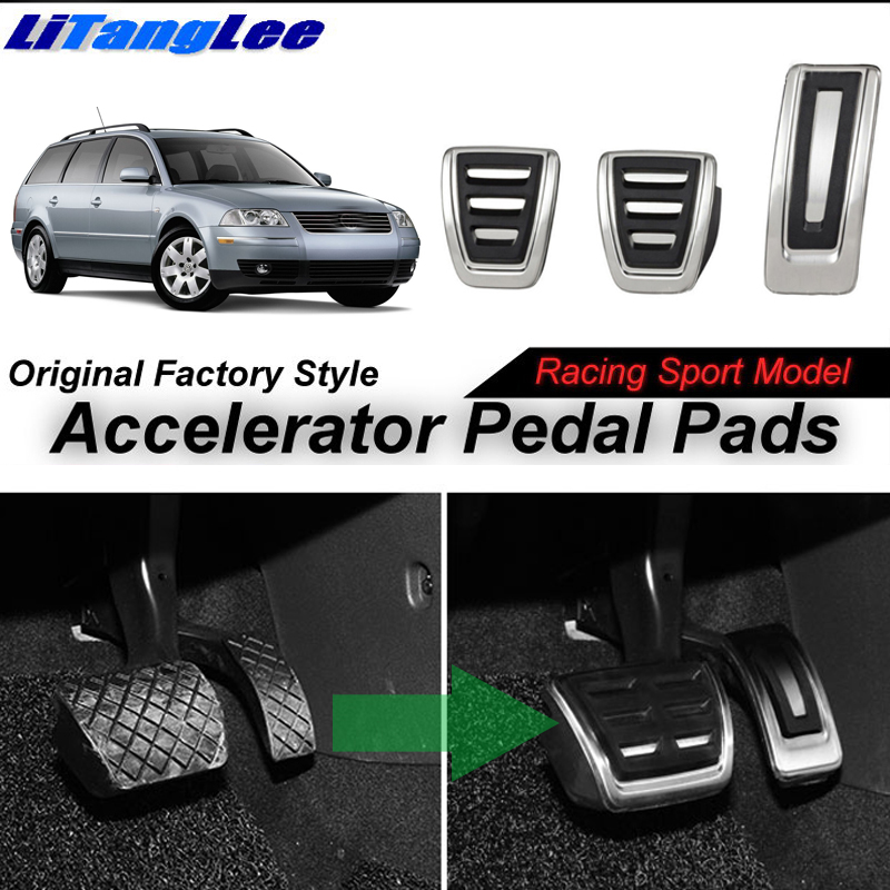 LitangLee Car Accelerator Pedal Pad Cover Sport Racing Foot Pedal Cover For Volkswagen VW Passat B5 B5.5 3B 3BG 1996~2006 MT litanglee car accelerator pedal pad cover racing sport for mini cooper clubman r55 f54 2007 onwork at foot throttle pedal cover