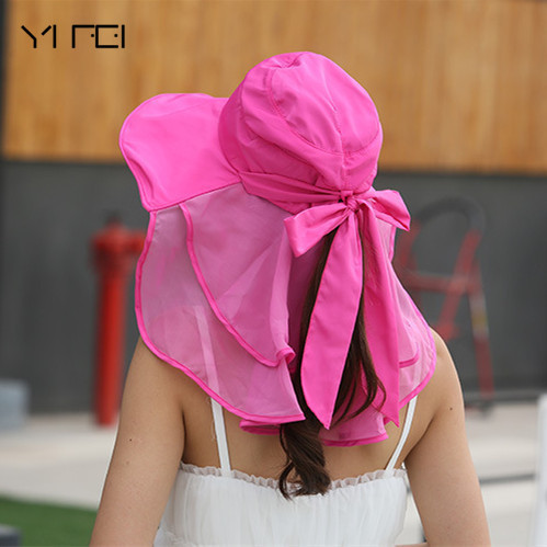 Sombreros Mujer Verano Wide Brim Summer Visor Caps Anti-UV Chapeu Feminino Sun Hats With Face Neck Protection For Women