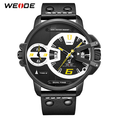 WEIDE UV1702 Hardlex Dual Time Analog Japan Movement Wrist Watches 5